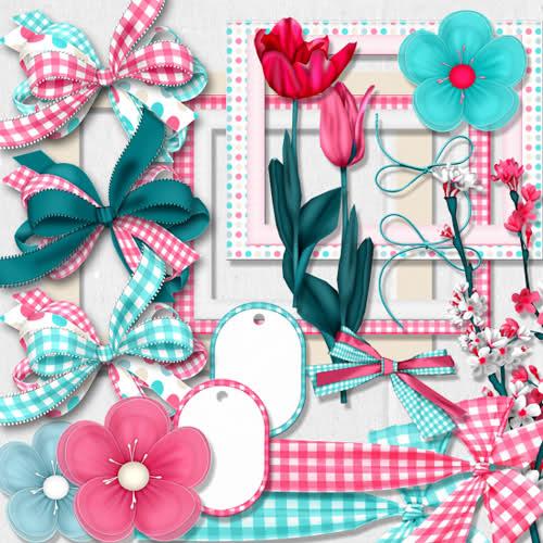 ピンクと水色のチェックリボンがとっても可愛いスクラップ ...