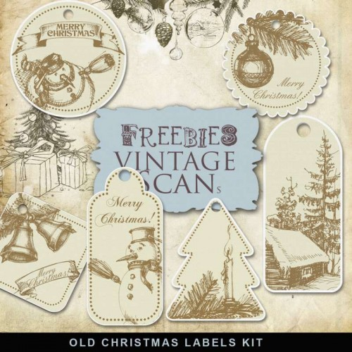 Freebies Old Naive Christmas Labels
