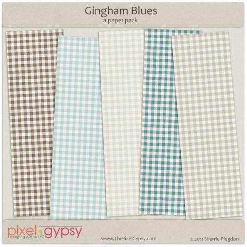 Gingham Blues Free Digital Scrapbooking Papers
