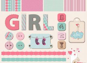 Cute cartoon scrap bunny girl eps Vector 03